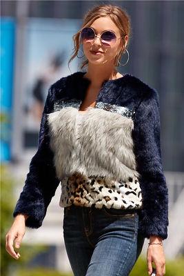 Faux fur colorblock jacket
