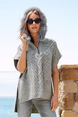 Faux-fur trim cable poncho sweater