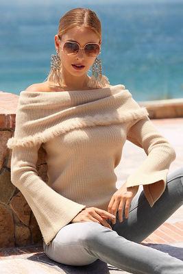 Faux-fur trim off-the-shoulder sweater