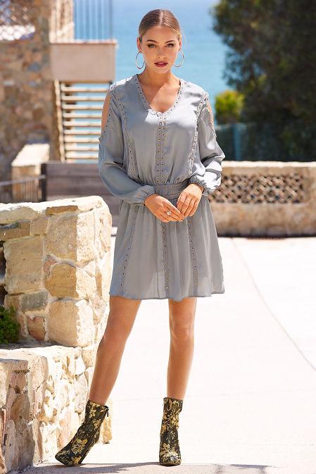 Grommet cold shoulder boho dress image