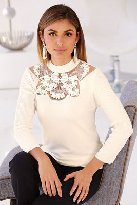 Lace embroidered crew-neck sweater