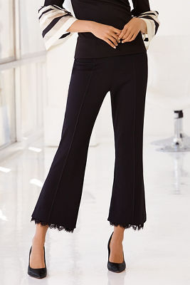 Lace hem detail cropped pant
