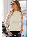 Lace Sleeve Peplum Sweater Photo