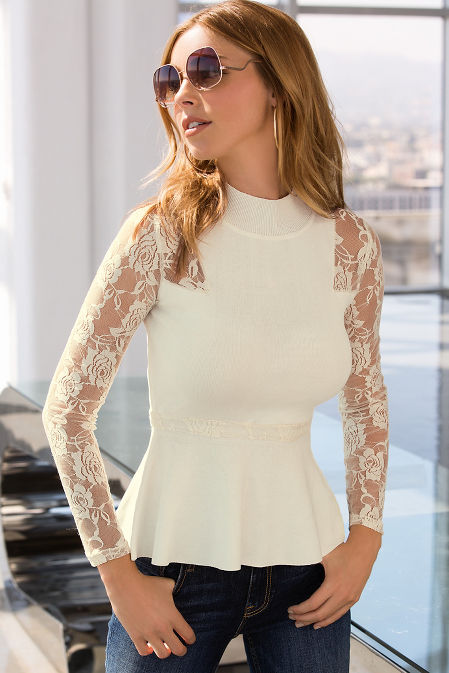Lace sleeve peplum sweater image