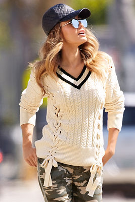 Lace-up varsity sweater