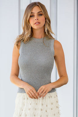 Shimmer sweater tank top