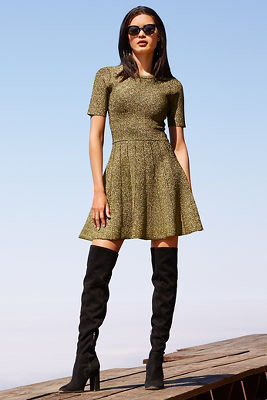 Metallic fit-and-flare dress