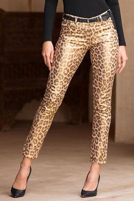 Metallic leopard skinny jean