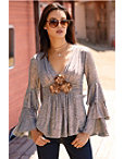 Metallic Tiered Sleeve Top Photo