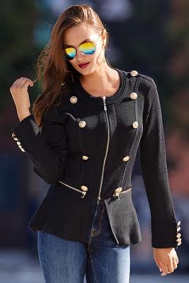 Military peplum sweater jacket