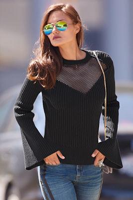 Mock neck mesh sweater