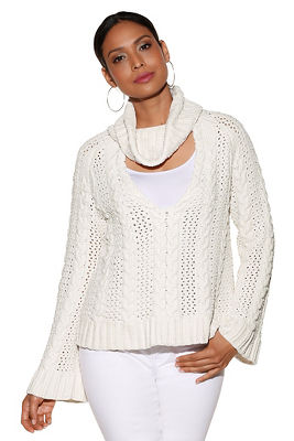 Mock-neck keyhole chenille sweater