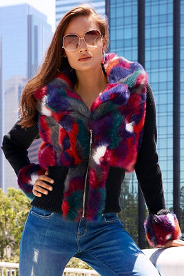 Multicolor faux-fur sweater jacket