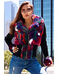Multicolor Faux-fur Sweater Jacket Photo