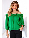 Off-the-shoulder Charmeuse Top Photo