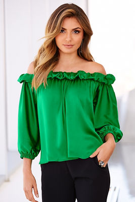 Off-the-shoulder charmeuse top