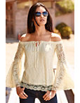 Off-the-shoulder Flare Sleeve Lace Top Photo