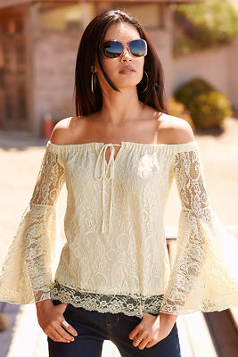 Off-the-shoulder flare sleeve lace top