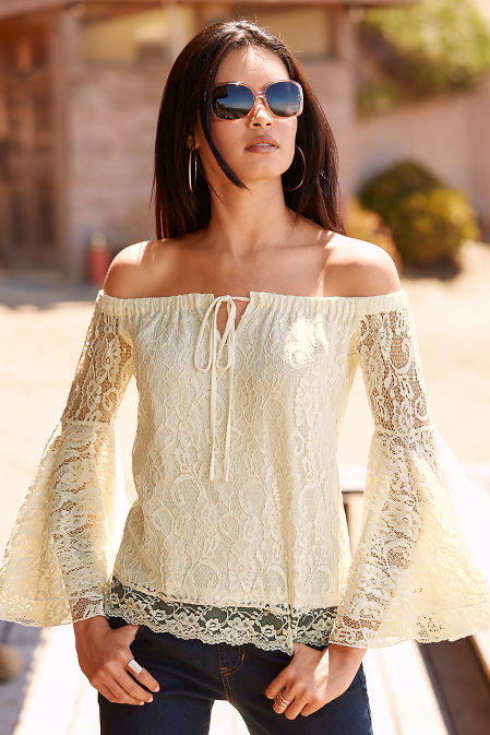 Off-the-shoulder flare sleeve lace top image