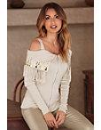 Off-the-shoulder Fringe Sequin Sweater Photo
