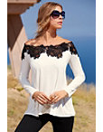 Off-the-shoulder Lace Trim Tunic Top Photo