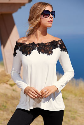Off-the-shoulder lace trim tunic top