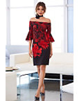 Off-the-shoulder Red Floral Dress Photo