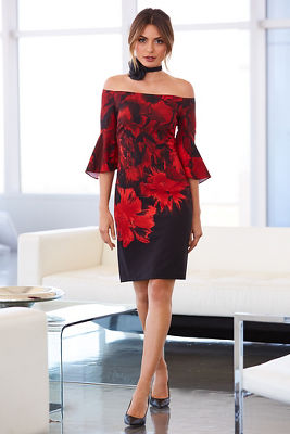 Off-the-shoulder red floral dress