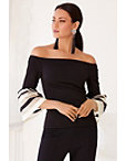 Off-the-shoulder Stripe Flare-sleeve Top Photo