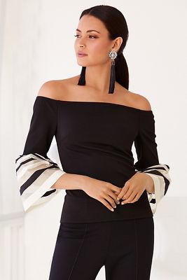 Off-the-shoulder stripe flare-sleeve top