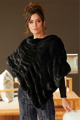 Plush faux-fur poncho