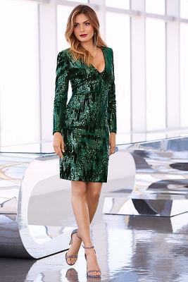 Sequin velvet long-sleeve dress