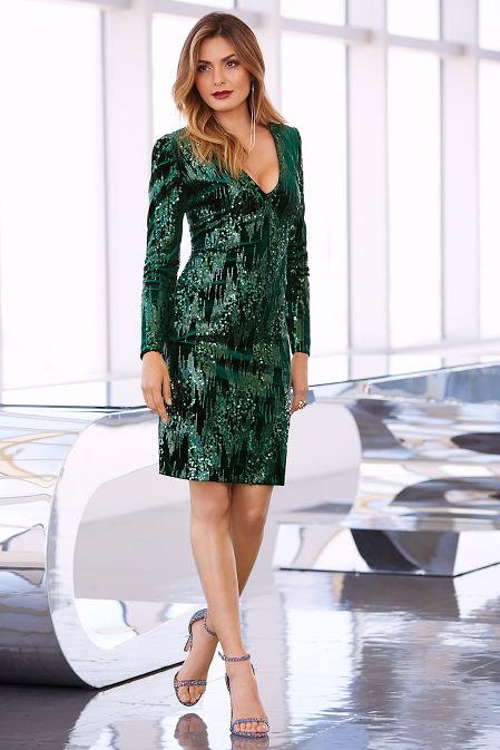 Sequin velvet long-sleeve dress image