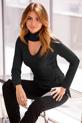 Side corset mock-neck sweater