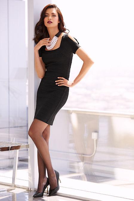 Slit sleeve bandage dress image