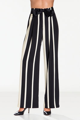 Striped tie-front trouser pant