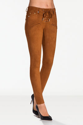 Vegan suede lace-up skinny pant