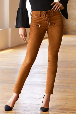 Vegan suede lace-up skinny pant