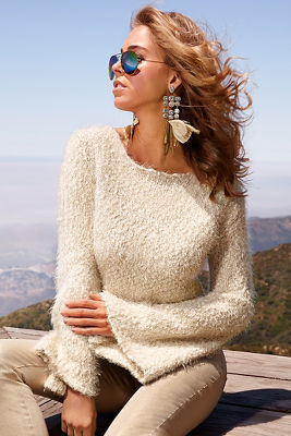 textured bell-sleeve sweater