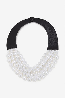 Vegan leather and pearl necklace