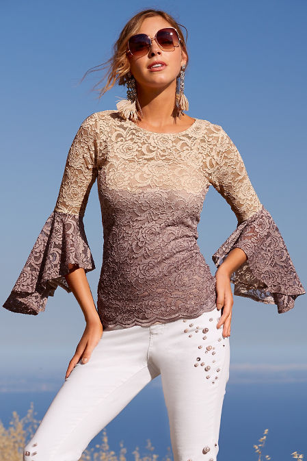 Glitter ombre lace top image
