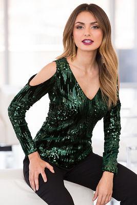 Sequin velvet cold-shoulder top