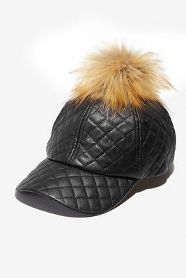Quilted vegan leather pom baseball hat