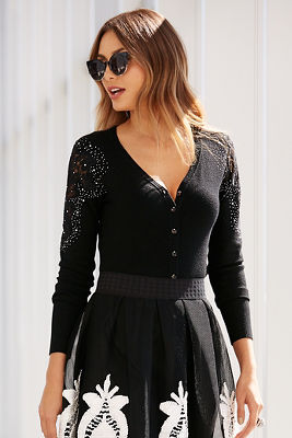 Lace shoulder cardigan sweater top