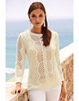 Cable Pearl Trim Sweater Photo