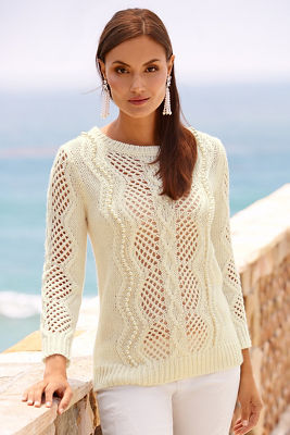 Cable pearl trim sweater