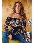 Off-the-shoulder Ruffle Long Sleeve Top Photo