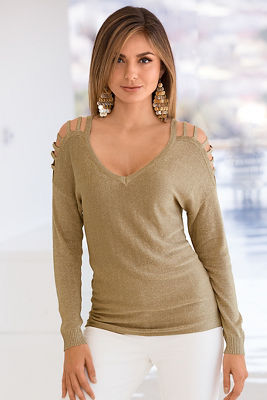 Gold slit shoulder sweater