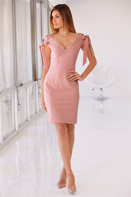 V-neck bow sleeve dress