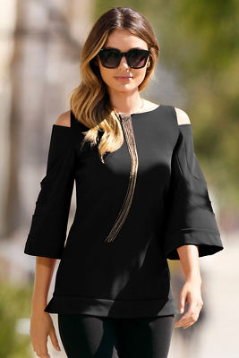Travel solid cold shoulder flare-sleeve top